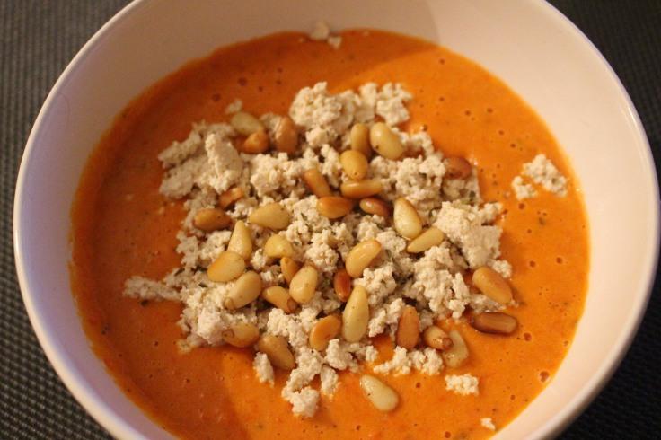 Crème poivron et tofu